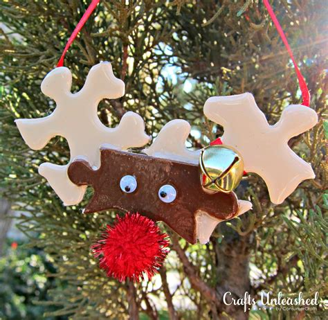 craft tree decorations make reindeer ornaments from puzzle pieces