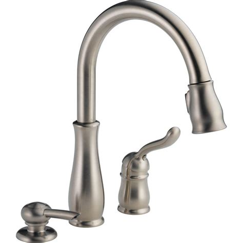 delta leland single handle pull sprayer kitchen faucet with soap dispenser and magnatite