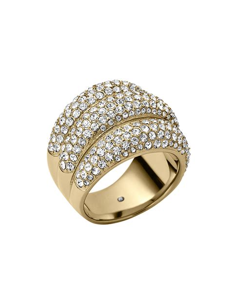 michael kors goldtone stack ring in gold lyst