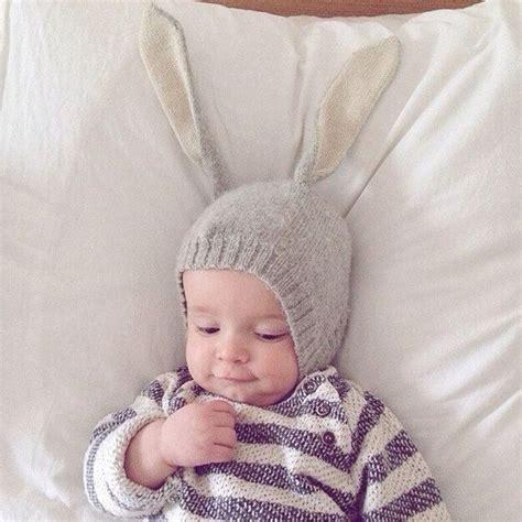 topi kupluk bayi lucu model bunny ear gray
