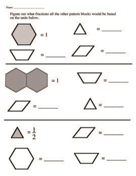 fractions pattern blocks worksheet pattern block flexible unit fraction cooperative activity