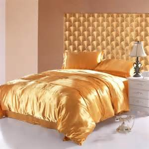 gold imitated satin silk duvet cover and sheet cheap