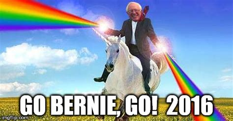 Gay Unicorn Meme - bernie sanders on magical unicorn imgflip
