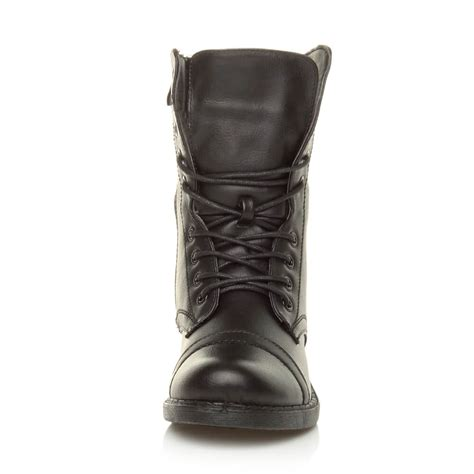 lace up biker boots womens military ladies combat army biker lace up low heel