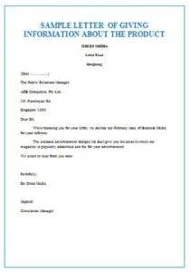 information product sles business letters