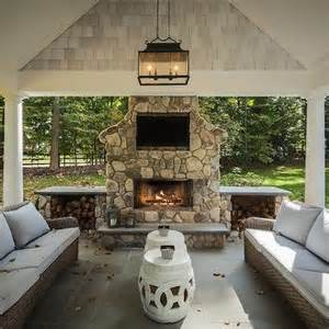 white outdoor fireplace design ideas