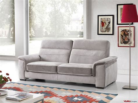 sliding sofa reclining sofa in leather and fabric with sliding seating