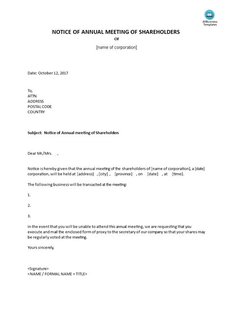 Notice Of Annual Meeting To Shareholders | Templates at