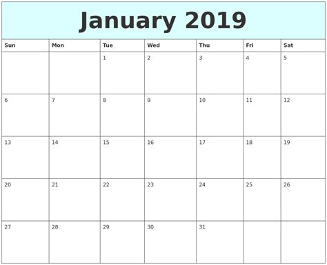 printable calendar january 2019 january 2019 free calendar