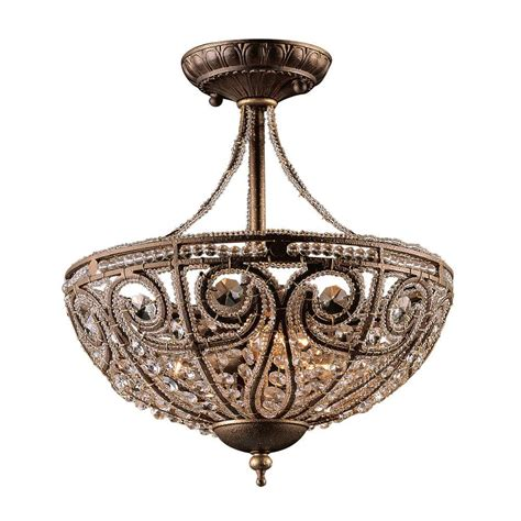 Titan Lighting Elizabethan 3 Light Dark Bronze Ceiling Ceiling Semi Flush Mount Light Fixtures