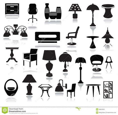 interior design elements icons stock vector art 165814827 interior icons set stock vector image of silhouette