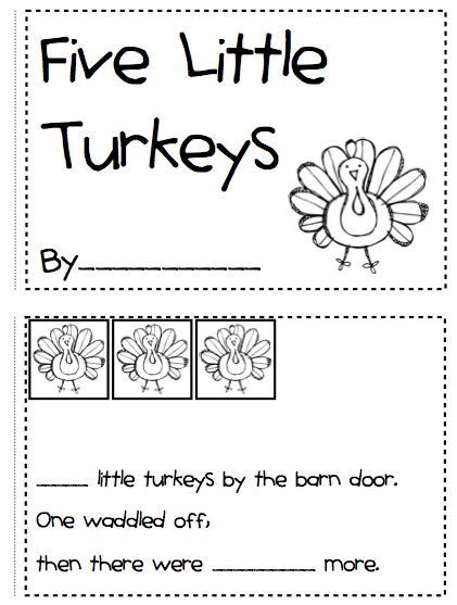 printable turkey mini books five clipart little turkey pencil and in color five