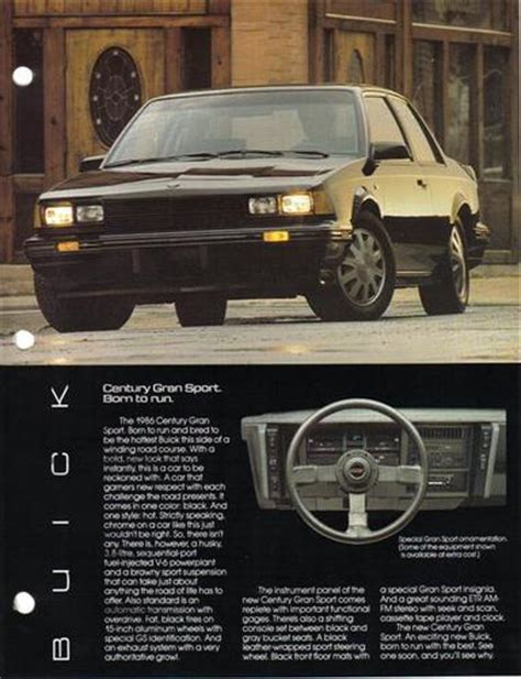 1986 buick marketing manual information pages century gs