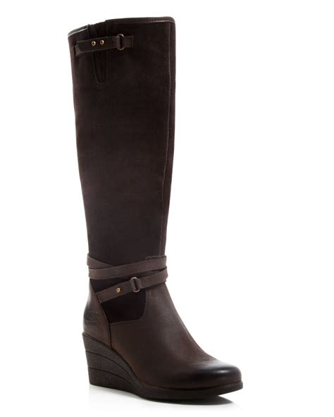 ugg ugg 174 australia wedge boots lesley in brown lyst