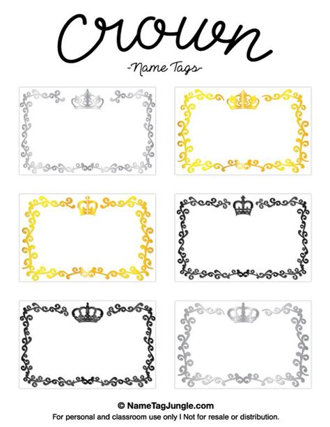 Name Day Card Template by Free Printable Crown Name Tags The Template Can Also Be
