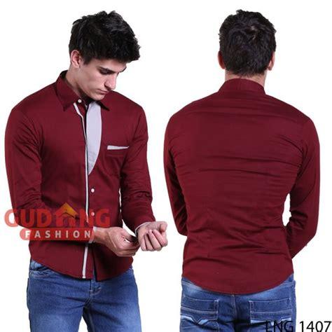 Kemeja Pria Toyya Merah Lengan Panjang Slimfit Casual Korea Style kemeja panjang pria korean style slim fit casual modern