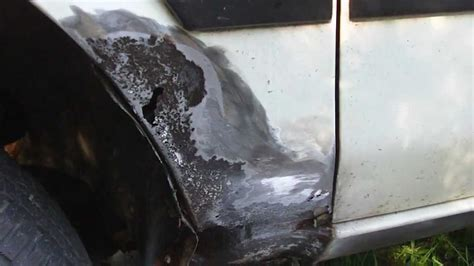 how to repair a hole in a fiberglass bathtub how to repair a rust hole on your vehicle youtube