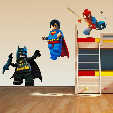 lego superhero set wall art stickers decal superman spiderman