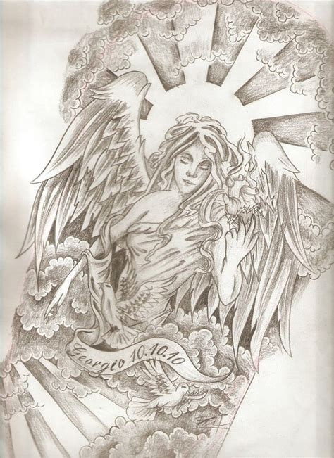 grey ink detailed memorial angel in sun shine tattoo