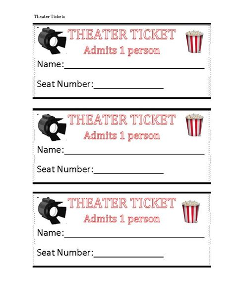 printable theater tickets 189 best pretend play printables and ideas images on