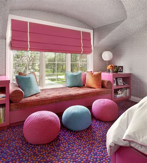Bow Window Designs window seat built ins contemporary girl s room
