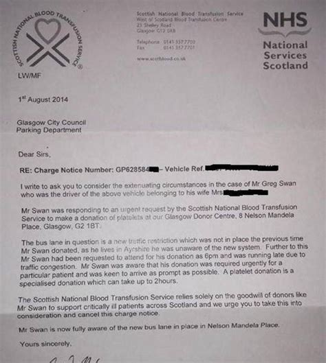 Nhs Appeal Letter Exle Blood Donor Fined By Glasgow City Council For Driving In Stv Glasgow Glasgow