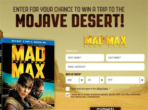 Sweepstakes Max - the mad max fury road sweepstakes