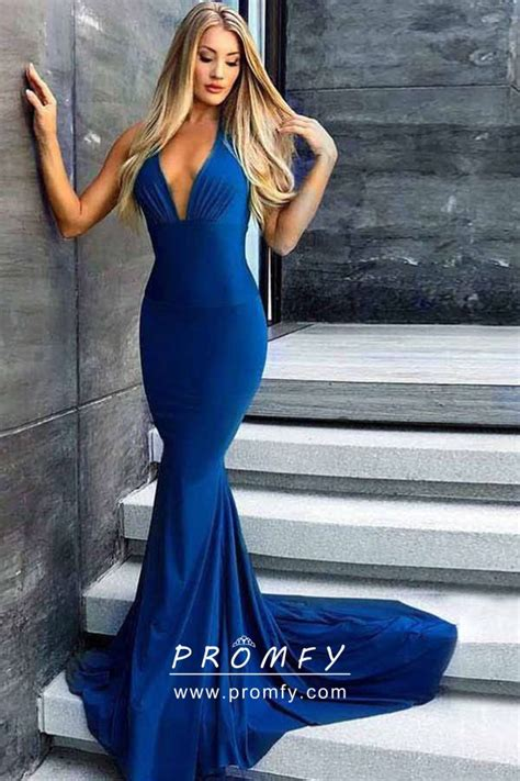 elegant indigo blue draped halter  neck open  mermaid