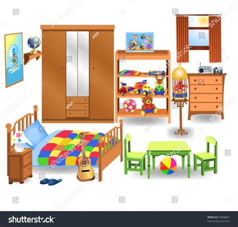 Bedroom Clipart Vector Bedroom Furniture Stock Vector 99398861