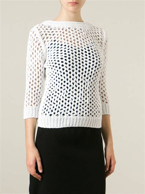 Sweater 10179760 White Knitting lyst ermanno scervino open knit sweater in white
