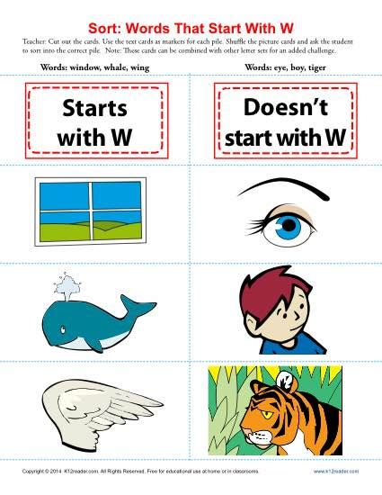 Words That Start With The Letter W