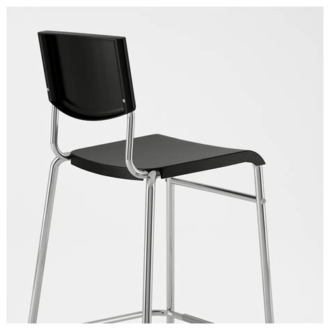 Bar Stool With Backrest Stig Bar Stool With Backrest Black Silver Colour 63 Cm Ikea