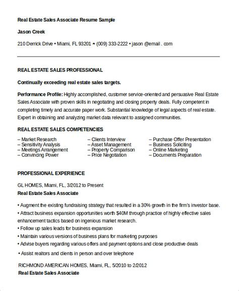 Resume Sle Of Real Estate Sales Associate Resume 7 Free Sle Exle Format