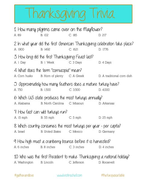 thanksgiving trivia a printable for your gathering
