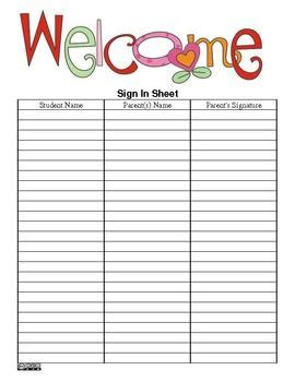parent sign up sheet for back to school and other parent