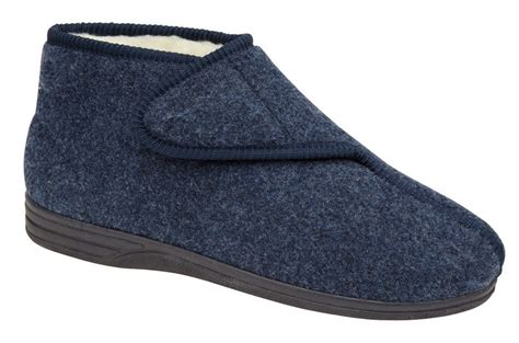 mens fur lined slipper boots mens faux sheepskin fur lined velcro boots slippers navy