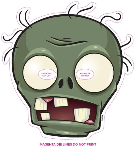 printable zombie mask mask http www stopzombiemouth com plants vs