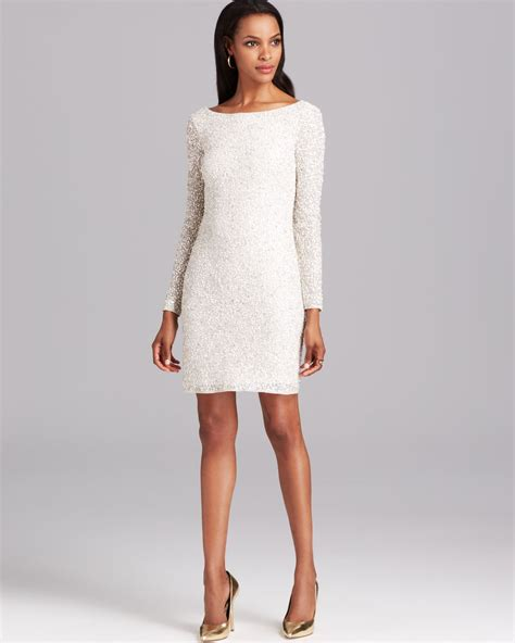 white cocktail dresses aidan mattox cocktail dress sleeve sequin in white lyst