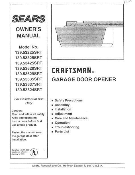 Craftsman Garage Door Opener 139 53325srt User Guide Overhead Door Manual