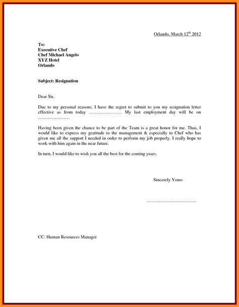 Sle Of Resignation Letter For Personal Reasons by 5 Resignation Letter Sle With Reason Mystock Clerk