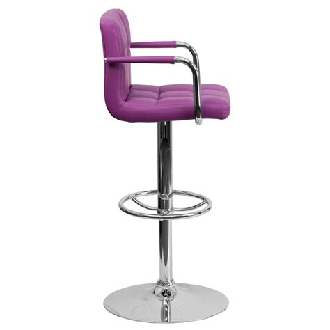 adjustable bar stools with backs and arms quilted mid back swivel bar stool with adjustable height