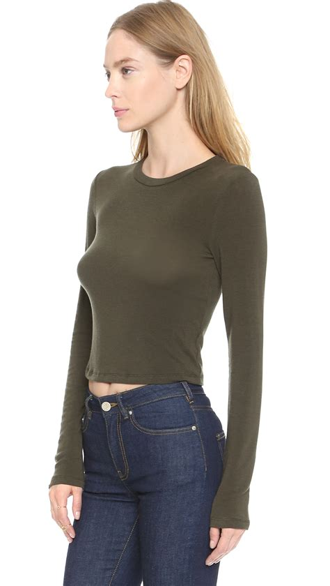 Army Top lyst air by sleeve crop top army