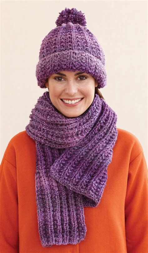 knitting patterns scarves hats rustic ribbed hat and scarf in lion brand tweed stripes