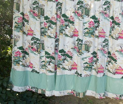 barkcloth curtains barkcloth curtains vintage asian pink pagodas 4 long