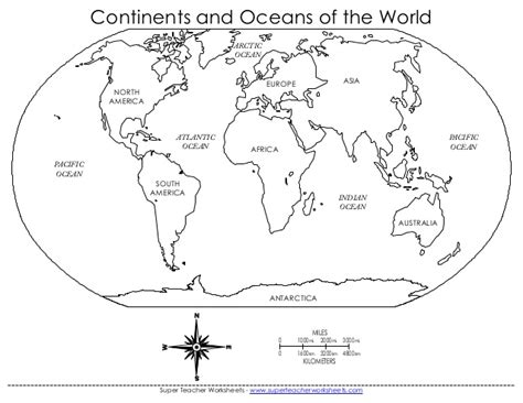 world map for students to fill in continents oceans wmzbn