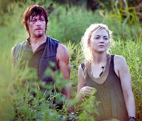 are walking dead stars norman reedus and emily kinney the walking dead s norman reedus costar emily kinney are