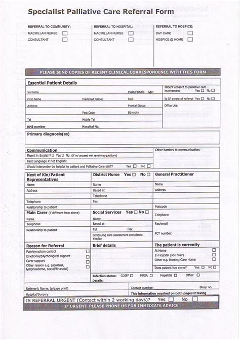 palliative care plan template referral form 1 pictures