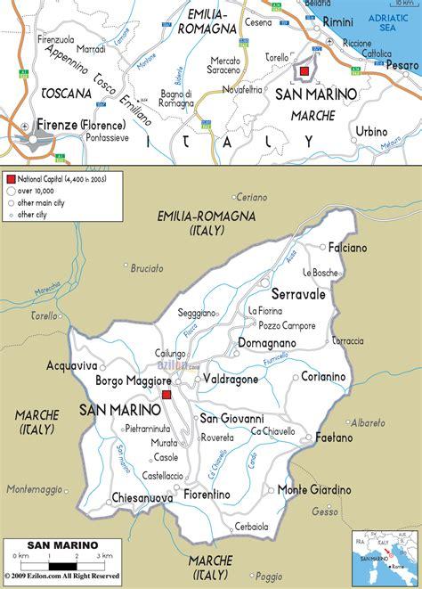 san marino on map of europe road map of san marino ezilon maps