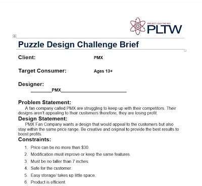 design brief exle pltw reverse engineering pmx fan pltw engineering