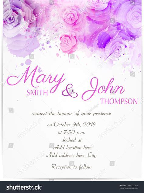 Vector Backgrounds With Roses For Invitations wedding invitation template with abstract roses on